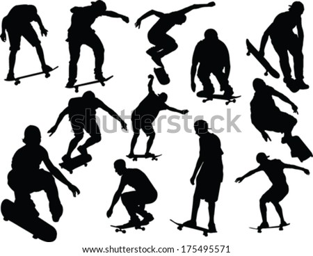 skateboard collection - vector - stock vector