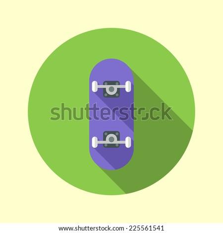 Skateboard icon. Long shadow flat design. Vector illustration. - stock vector