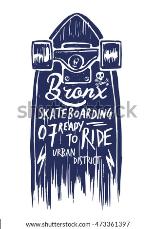 Skateboard Illustration Lettering Tshirt Graphics Vectors Stock ...