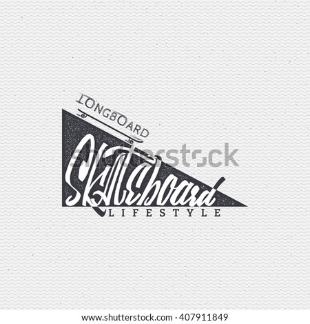 Skateboard - insignia, badge, label, sign, print, stamp, can be used in the design - stock vector
