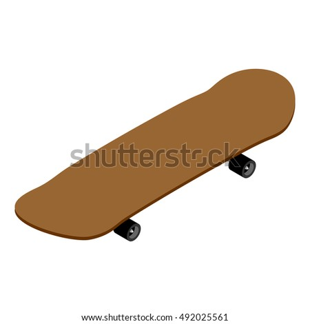 Skateboard isometrics. Board for skiing. Supplies for skateboarding and rollers. Sports tool to perform various tricks