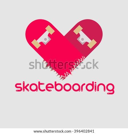 Skateboard logotype. Skateboarding logo. Love skateboarding. Skateboard heart. - stock vector
