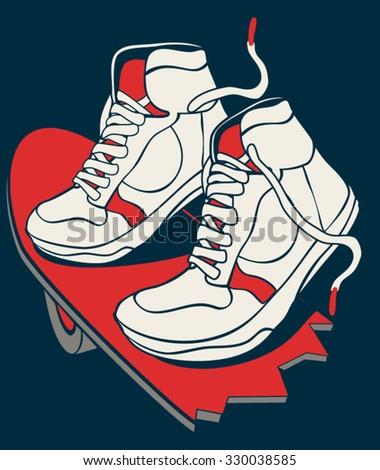 skateboard, skater, sneakers, skateboarding vector graphic design - stock vector