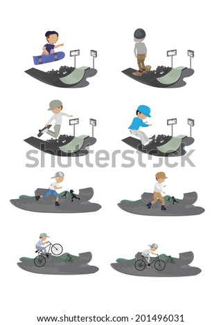Skateboarder, Cyclist And Roller Skating Boy In Skate Park - Isolated On White Background - Vector Illustration, Graphic Design Editable For Your Design    - stock vector