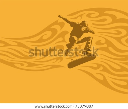 Skateboarder in action, vector illustration - stock vector