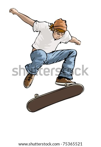 Skateboarder in action, vector illustration on white background - stock vector