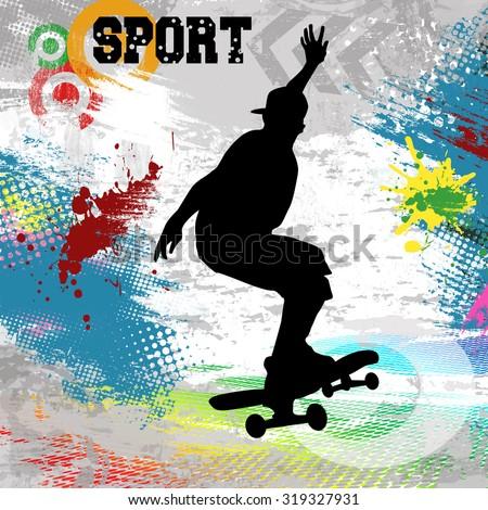 Skateboarder  jump on skateboard on abstract grunge background, vector illustration - stock vector