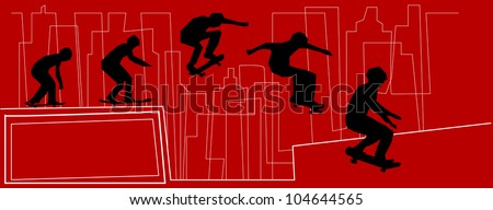 skateboarder jumping sequence - stock vector