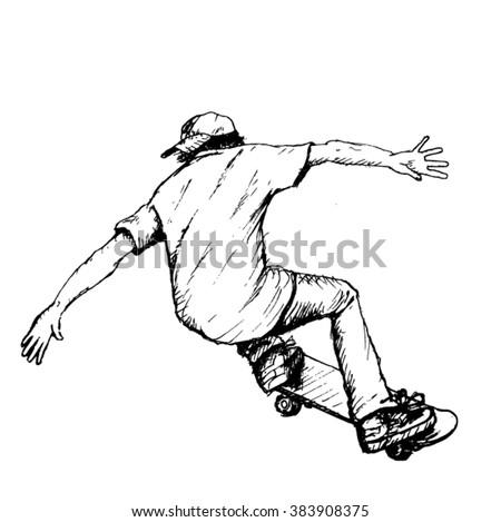 skateboarder sketch - vector - stock vector