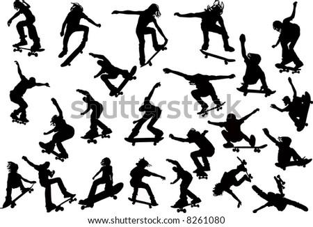 Skateboarders - stock vector
