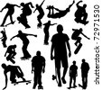 skateboarders collection silhouettes - vector - stock photo