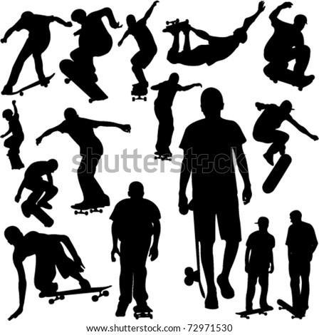 skateboarders collection silhouettes - vector - stock vector