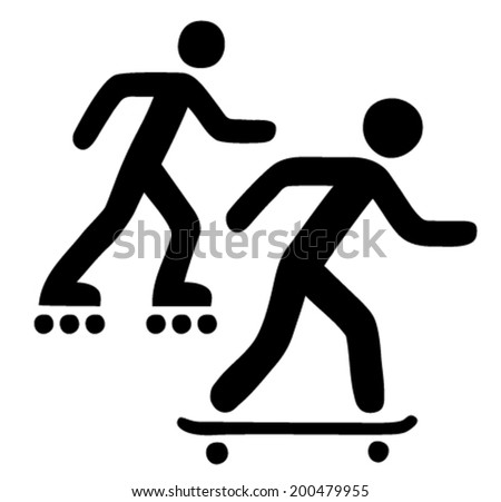 Skateboarding and rollerblading activity sign - stock vector