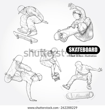 Skateboarding. drawing vector vector - stock vector