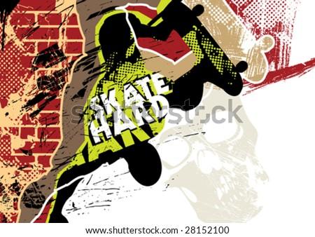 Skateboarding poster with grunge background. Vector illustration. - stock vector