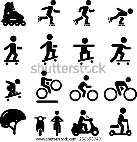 Skateboarding, scooter, rollerblading, bicycling and moped icons. Vector icons for digital and print projects. - stock vector