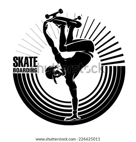 Skateboarding. Vector illustration in the engraving style - stock vector