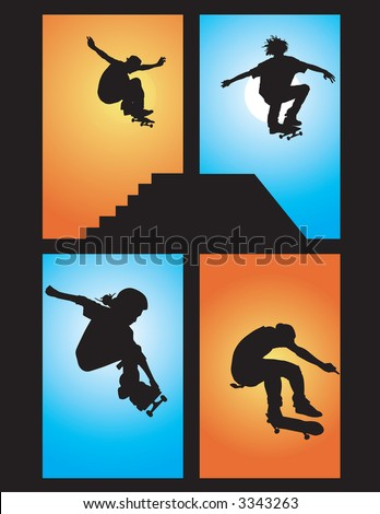 skater silhouette vectors getting air. - stock vector