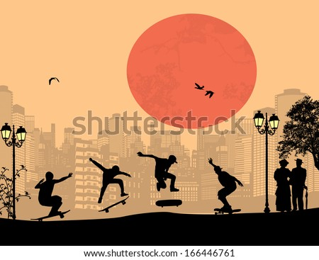 Skater silhouettes in front of city landscape vector background - stock vector