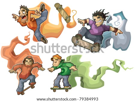 Skaters isolated - stock vector