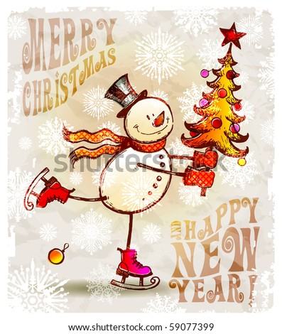 Skating happy snowman with christmas tree - stock vector