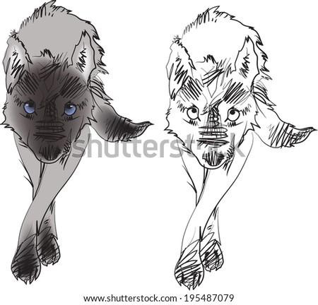 Skating wolf walk.vector - stock vector