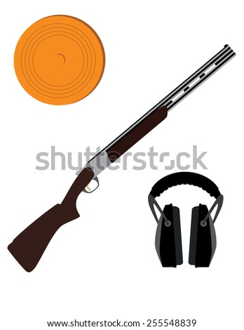 Skeet rifle,headphones for shooting and clay disk, hunting rifle, sport equipment,  - stock vector