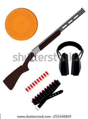 Skeet rifle,headphones for shooting, buckshot and clay disk, hunting rifle, sport equipment,  - stock vector