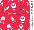 skeleton doodle seamless pattern - stock vector