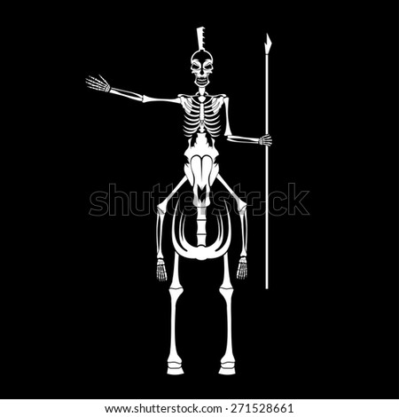 skeleton in spartan helmet with spear on the horse - stock vector