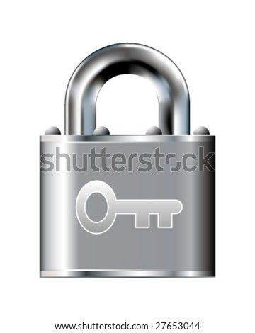 Skeleton key or password icon on stainless steel padlock vector button - stock vector