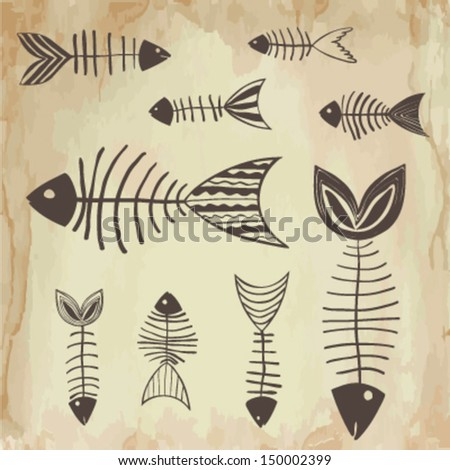 Skeleton of fish  - stock vector