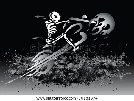 skeleton on flaming motorcycle - eps file available - stock vector