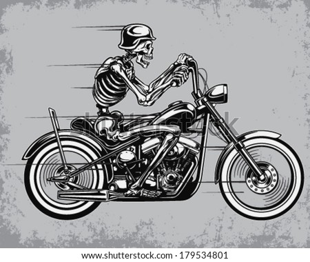 Skeleton Riding Motorcycle Vector Illustration - stock vector