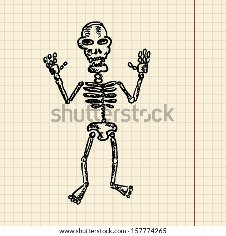 Skeleton sketch for your design, vector illustration, eps10, 2 layers - stock vector