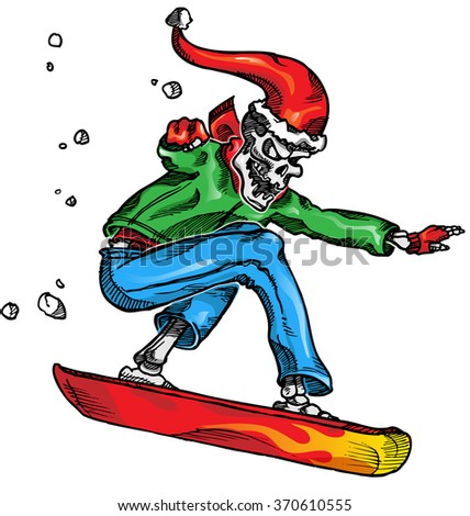 skeleton snow boarder isolated  wihite  background