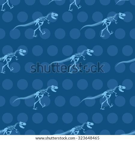 Skeleton Tyrannosaurus Seamless pattern. Dinosaur bones ornament for fabrics. Vector background of ancient fossil Raptor Predator.  old Monster - stock vector