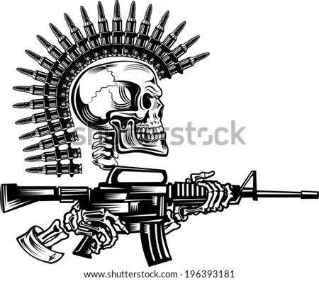 Skeleton with guns cartridges and Rifle