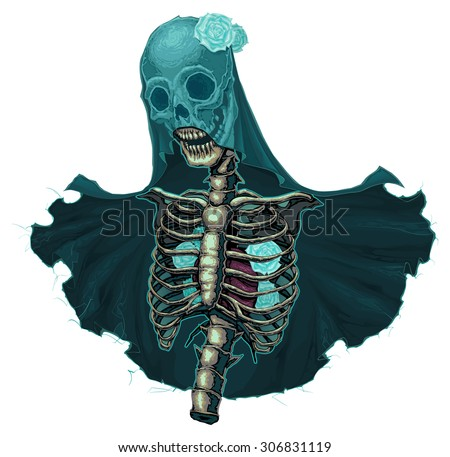 Skeleton with veil and white roses. Vector horror isolated character. - stock vector