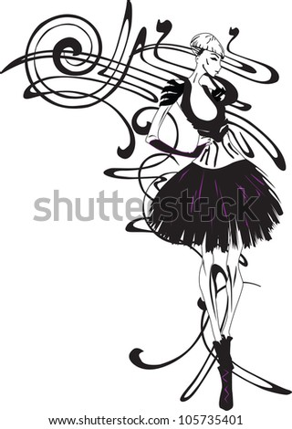 sketch a girl on a background pattern - stock vector
