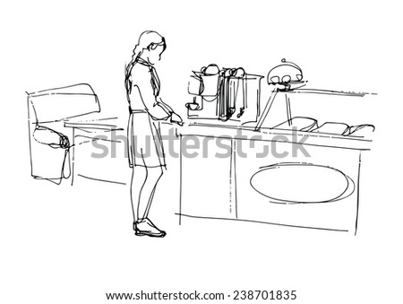 sketch a waitress at the coffee machine in the cafe - stock vector