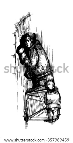 sketch. a woman with a child knocking on the door - stock vector
