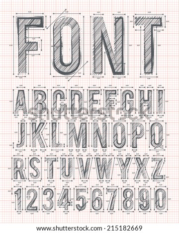 sketch alphabet font on red graph paper in vector format - stock vector