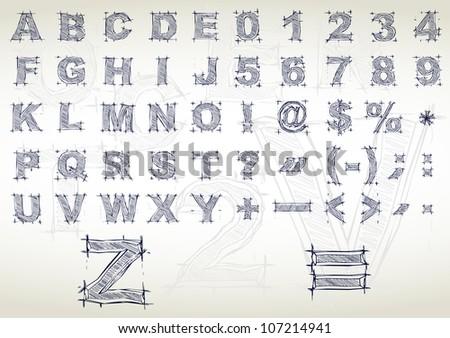 Sketch alphabet. Vector illustration - stock vector