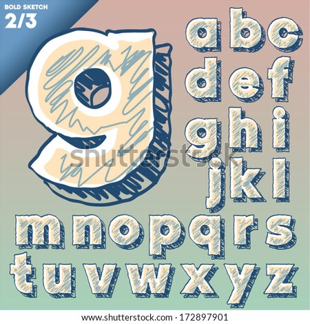 Sketch alphabet. Vector illustration of hand drawing font. Art-deco style. Lowercase letters - stock vector