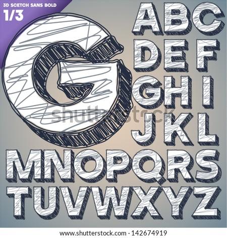 Sketch alphabet. Vector illustration of hand drawing font. Sans uppercase letters - stock vector