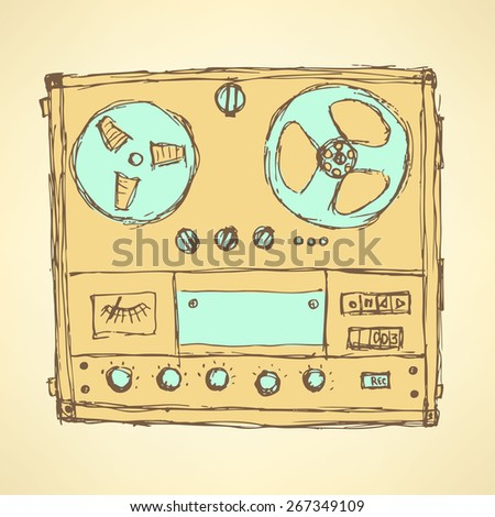 Sketch analog recorder in vintage style, vector - stock vector