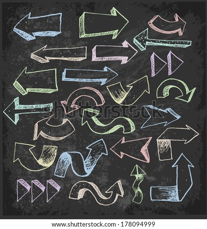 Sketch arrow collection for your design. Hand drawn with color chalks on blackboard - stock vector