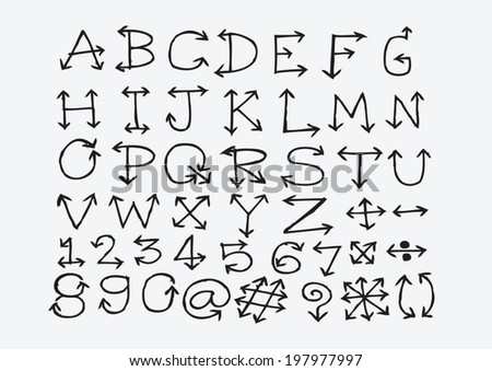 Sketch Arrows Alphabet Arrow Font A Through Z And Numbers