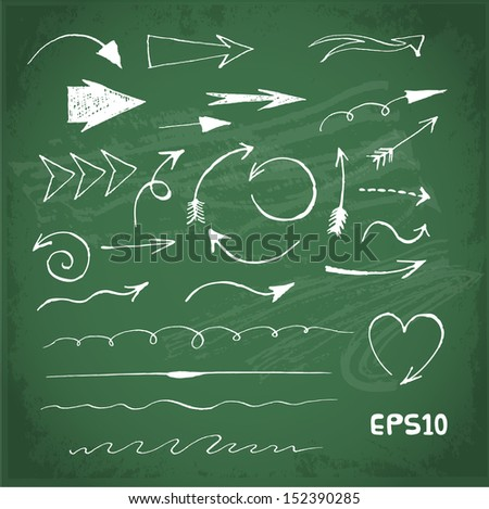 Sketch arrows collection for your design on blackboard. Vector chalkboard illustration.  - stock vector